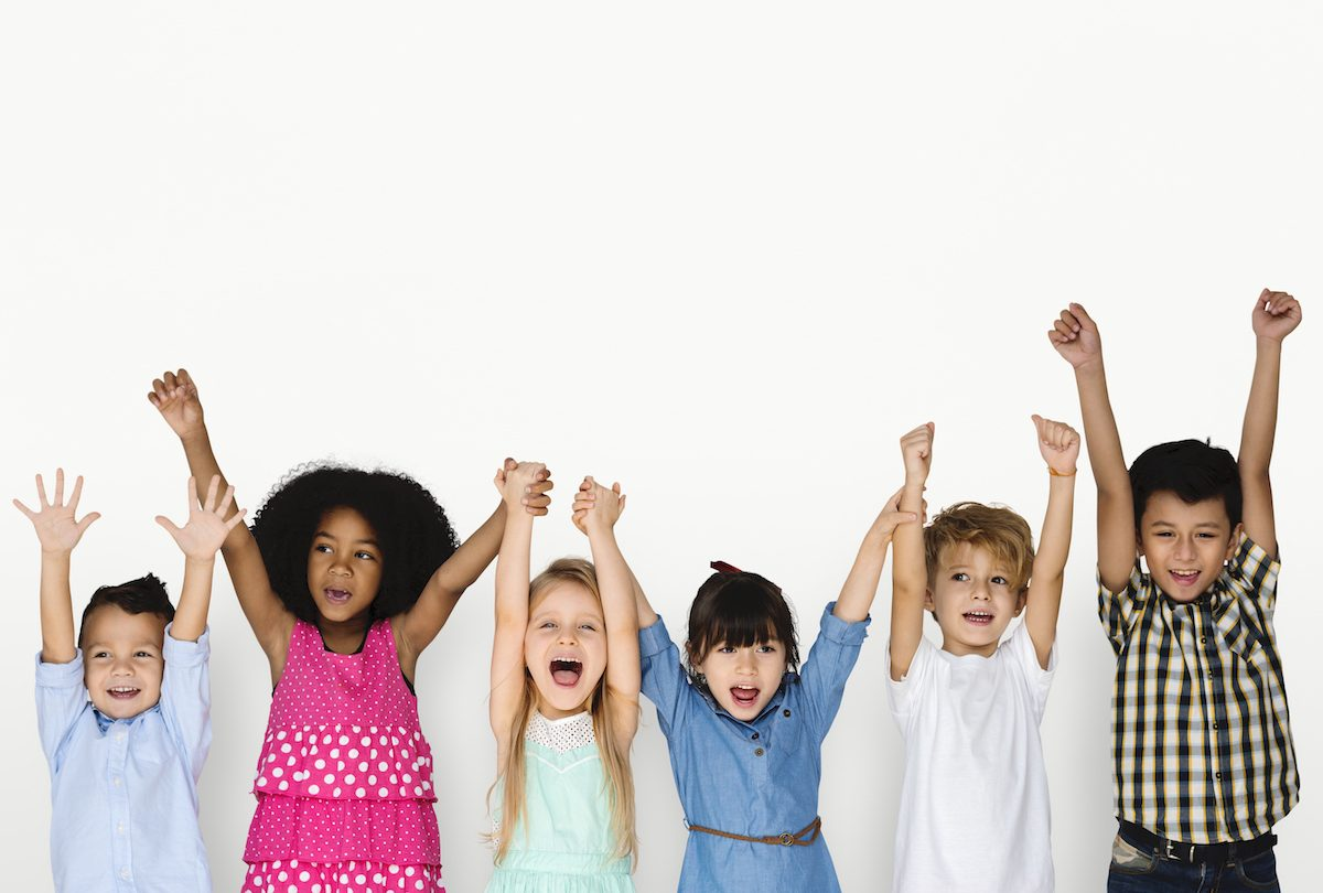 Little Children Hands Up Happy